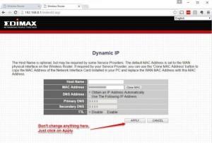 EdiMax Dynamic IP Setup Screen
