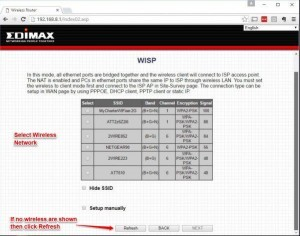 EdiMax Wireless ISP Selection