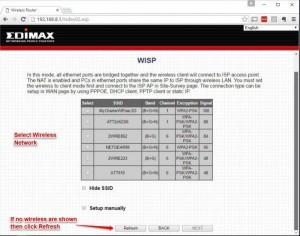 EdiMax Wireless ISP Selection