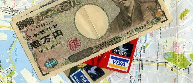 Credit cards and money on Map