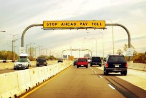 Toll Sign on Toll Road